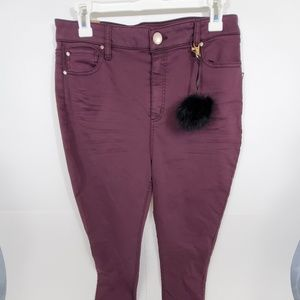 Tinseltown Juniors' High-Waist Skinny Jeans PomPom